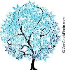 cztery pory, wektor, -, drzewo