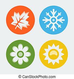 cztery pory, wektor, komplet, ikony