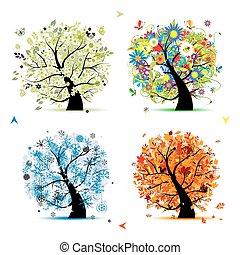 cztery pory, -, wiosna, lato, jesień, winter., sztuka, drzewo, piękny, dla, twój, projektować