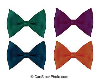 cztery, realistyczny, schyla się, zbiór, krawat