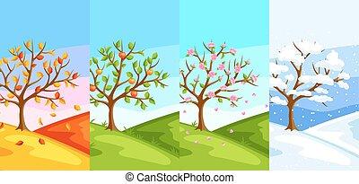 cztery, seasons., ilustracja, od, drzewo, i, krajobraz, w, zima, wiosna, lato, autumn.