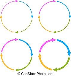 cztery, segmenty, koło, strzała