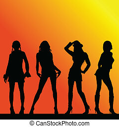 cztery, sexy, sylwetka, wektor, dziewczyny