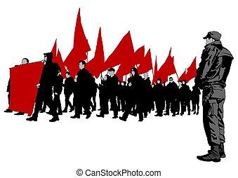 cztery, strona protestująca, anarchia, ludzie