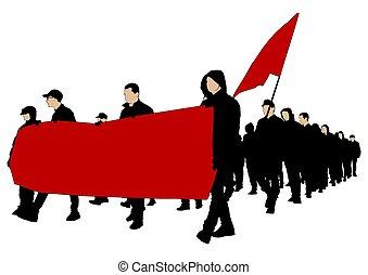 cztery, strona protestująca, ludzie