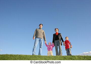 cztery, trawa rodzina