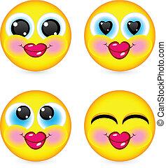 cztery, uśmiechnięte twarze