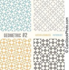 cztery, wzory, geometryczny, komplet