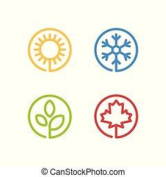 cztery, zima, komplet, wiosna, icons., jesień, pory, lato