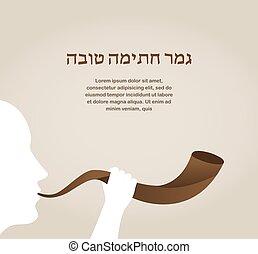 czuć się, życie, dobry, shofar, może, horn., żydowski,...