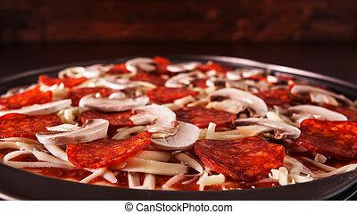 czuć się, -, closeup, swojski, gotowy, świeży upieczony, pizza