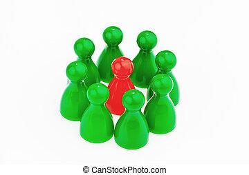 czuć się, indywidualność, wewnątrz, different., team.