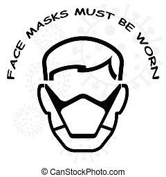 czuć się, musieć, znak, używany, twarz maska