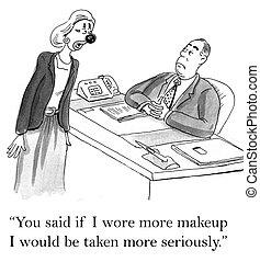 czuć się, powiedziany, makijaż, nosić, poważny, ty