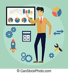 czuć się, używany, podobny, handlowy, diagram, udzielanie, tematy, -, wykres, wykres, handlowy, prezentacja, wektor, mówiący, analysis., board., wykład, kreska, człowiek, może