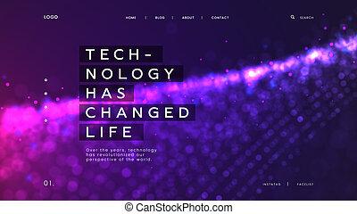 czuć się, używany, tło, database, purpurowy, abstrakcyjny, cyfrowy, -, lądowanie, cząstki, życie, jasny, changed, nauka, szablon, innowacja, interfejs, ma, technologia, strona, może