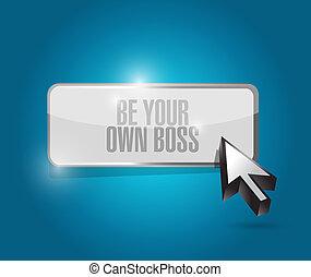 czuć się, własny, guzik, ilustracja, szef, twój