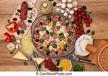 czuć się, wszystko, dookoła, składniki, gotowy, upieczony, pizza
