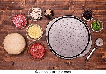 czuć się, wypiek, płyta, składniki, położony, gotowy, pizza