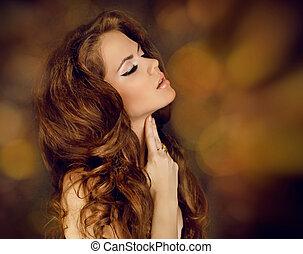 czuciowy, brunetka, woman., piękno, portrait., kędzierzawy włos
