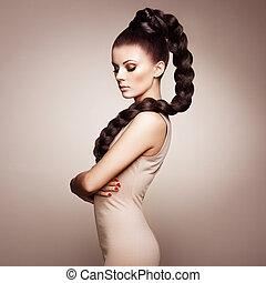 czuciowy, piękny, elegancki, portret, fryzura, kobieta