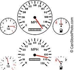 czujniki, wóz, benzyna, deski rozdzielcze, wektor, tachometr, szybkościomierz