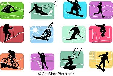 czynny, komplet, sport, ikony