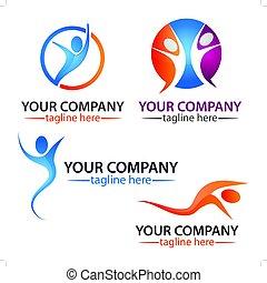 czynny, logo, komplet, logo., ludzie