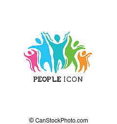 czynny, ludzie, ikona