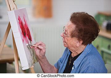 czynny nestor, maluje obraz, w, wolny czas