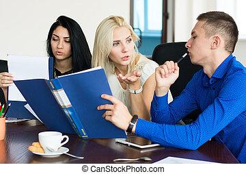czynny, spotkanie, grupa, handlowy zaludniają