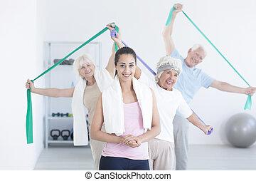 czynny, starsze ludzie, rozciąganie