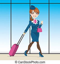 czynny, stewardessa, pieszy