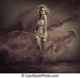 czysta sztuka, fotografia, od, blondynka, piękno