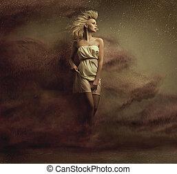 czysta sztuka, fotografia, od, niejaki, powabny, blondynka, piękno
