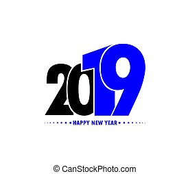 czysty, 2019, powitania, tło, rok, nowy, biały