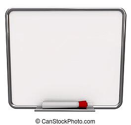 czysty, biały, obeschnięcie wycierają deskę, z, czerwony, markier