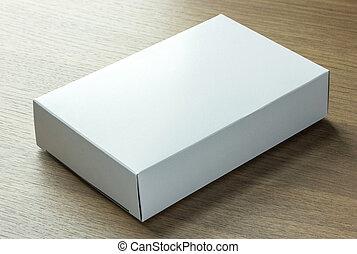 czysty, biały, papier boks, na, ciemny, drewno, tło