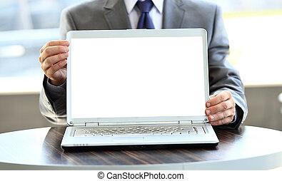 czysty, laptop, ekran