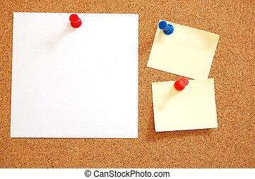 czysty listek, papier, na, biuletynowa deska