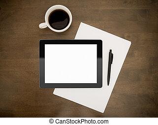czysty, miejsce pracy, tabliczka, cyfrowy