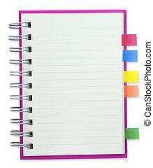 czysty, notatnik, różowy, osłona