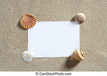 czysty, papier, kopiować przestrzeń, lato, plażowy piasek,...