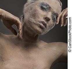czysty portret sztuki, od, niejaki, młoda kobieta, w, bandaż