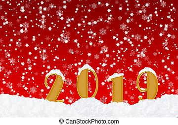 czysty, powitanie karta, z, przedimek określony przed rzeczownikami, liczba, 2019, w, przedimek określony przed rzeczownikami, śnieg, i, czerwony, boże narodzenie, tło