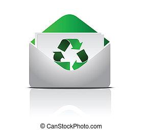 czysty, recycling, litera, znak