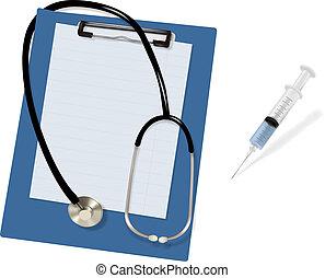 czysty, stetoskop, clipboard.