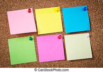 czysty, sześć, notatnik., lepki