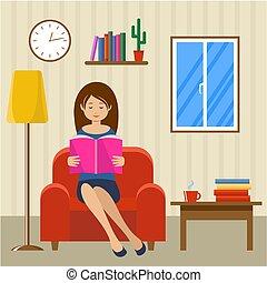 czyta, kobieta, młody, krzesło, posiedzenie