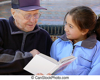 czytanie, dziadek